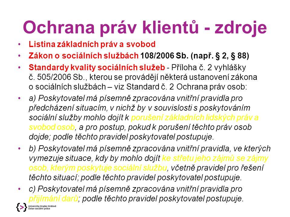 Ochrana práv klientů - zdroje Listina základních práv a svobod Zákon o sociálních službách 108/2006 Sb.