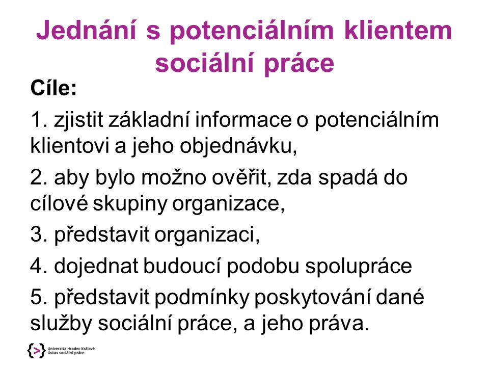 Jednání s potenciálním klientem sociální práce Cíle: 1.