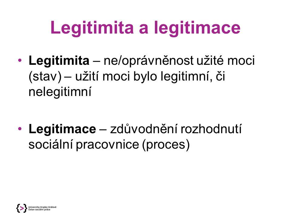 Legitimita a legitimace Legitimita – ne/oprávněnost užité moci (stav) – užití moci bylo legitimní, či nelegitimní Legitimace – zdůvodnění rozhodnutí s