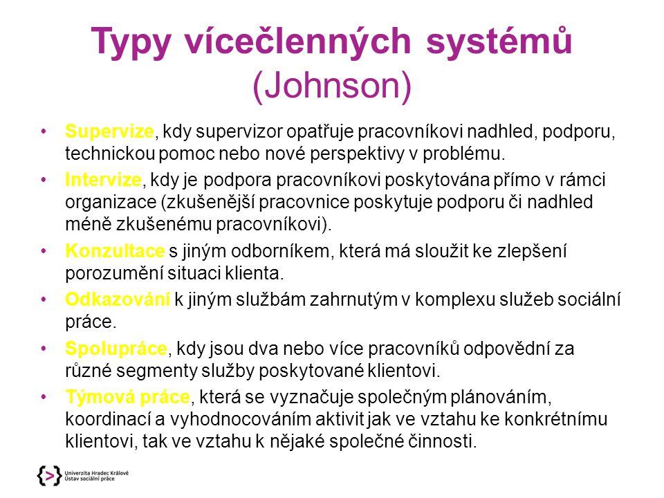 Typy vícečlenných systémů (Johnson) Supervize, kdy supervizor opatřuje pracovníkovi nadhled, podporu, technickou pomoc nebo nové perspektivy v problém