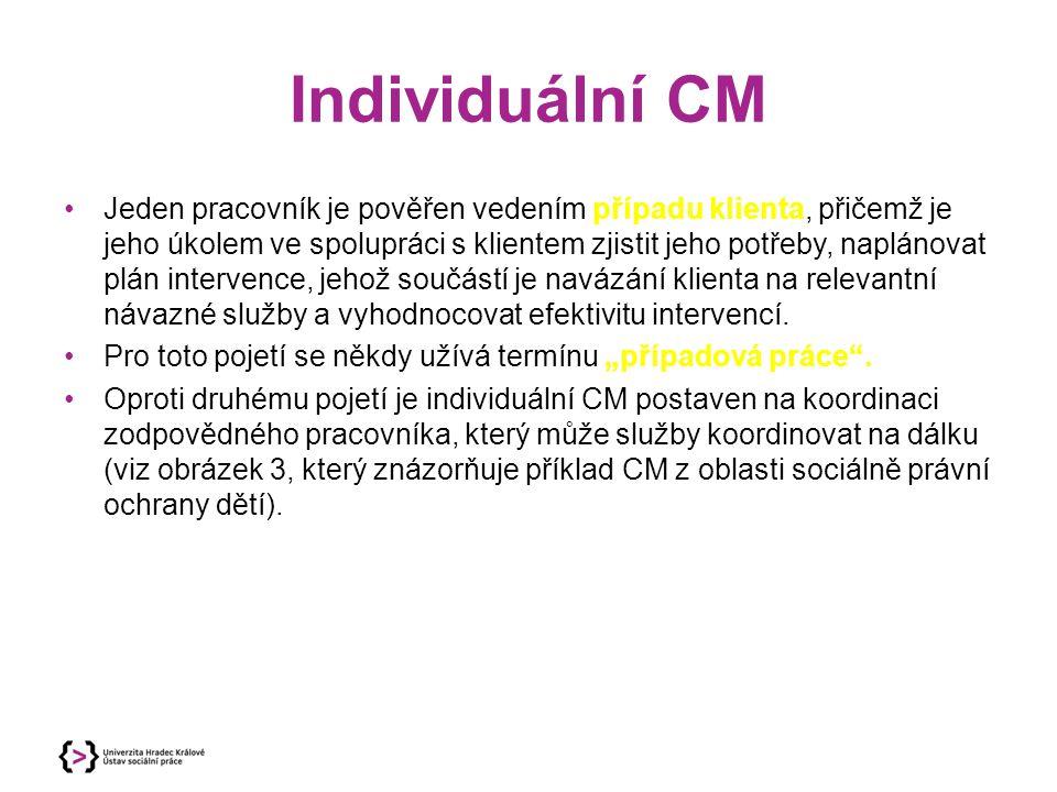 Individuální CM Jeden pracovník je pověřen vedením případu klienta, přičemž je jeho úkolem ve spolupráci s klientem zjistit jeho potřeby, naplánovat p