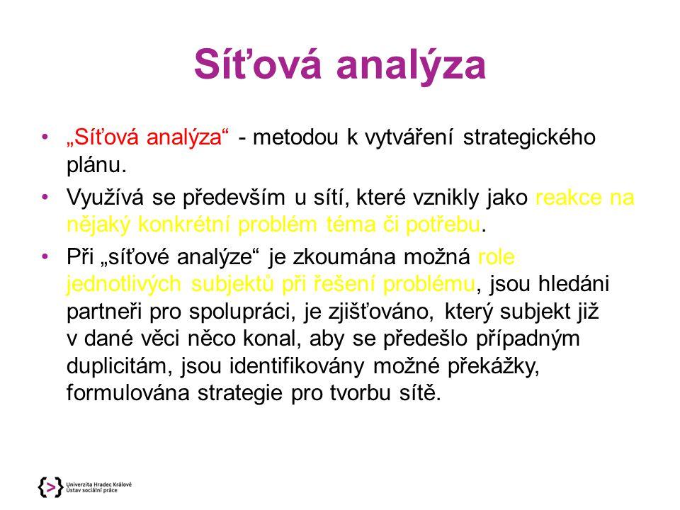 """Síťová analýza """"Síťová analýza"""" - metodou k vytváření strategického plánu. Využívá se především u sítí, které vznikly jako reakce na nějaký konkrétní"""