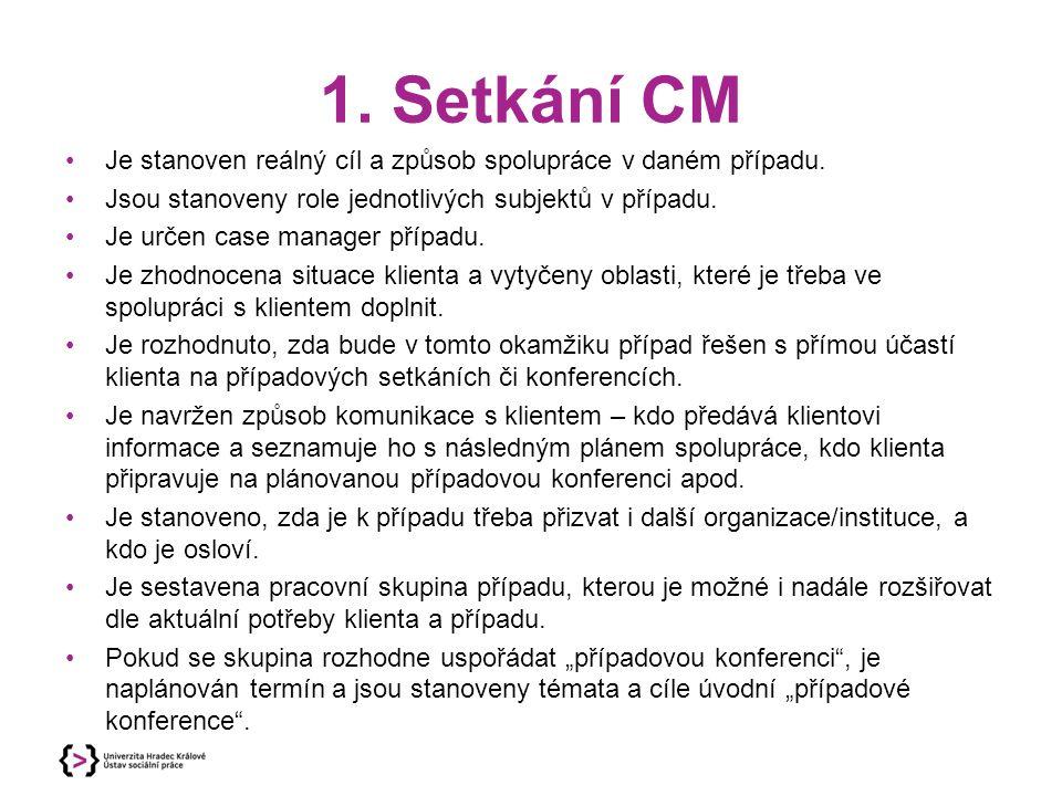 1. Setkání CM Je stanoven reálný cíl a způsob spolupráce v daném případu. Jsou stanoveny role jednotlivých subjektů v případu. Je určen case manager p
