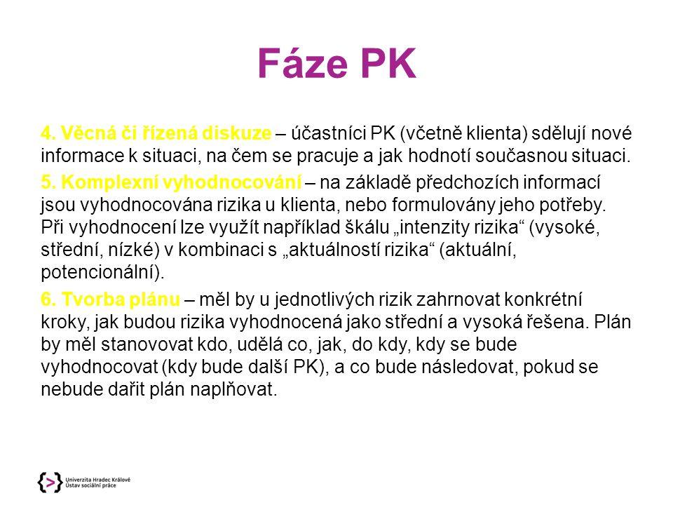 Fáze PK 4. Věcná či řízená diskuze – účastníci PK (včetně klienta) sdělují nové informace k situaci, na čem se pracuje a jak hodnotí současnou situaci