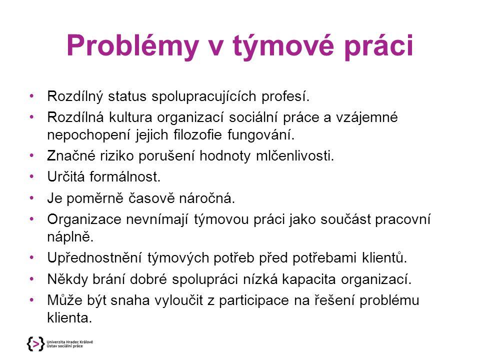 Problémy v týmové práci Rozdílný status spolupracujících profesí. Rozdílná kultura organizací sociální práce a vzájemné nepochopení jejich filozofie f
