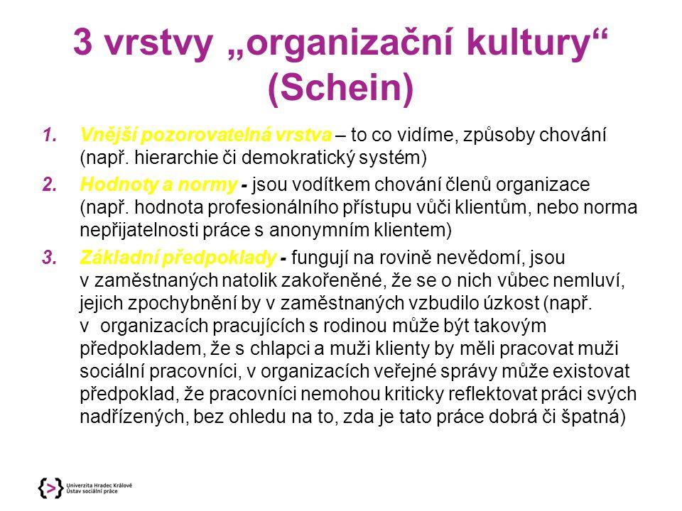 """3 vrstvy """"organizační kultury"""" (Schein) 1.Vnější pozorovatelná vrstva – to co vidíme, způsoby chování (např. hierarchie či demokratický systém) 2.Hodn"""