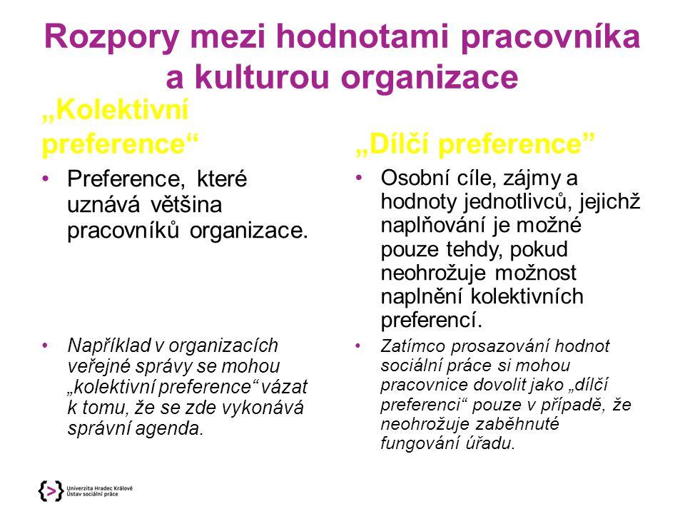 """Kultura organizace s vícero profesemi """"Ideologická hegemonie jiných profesí - sociální pracovnice a pracovníci jsou někdy nuceni přizpůsobovat své cíle a obsah práce představám jiných oborů, které v dané organizaci dominují."""