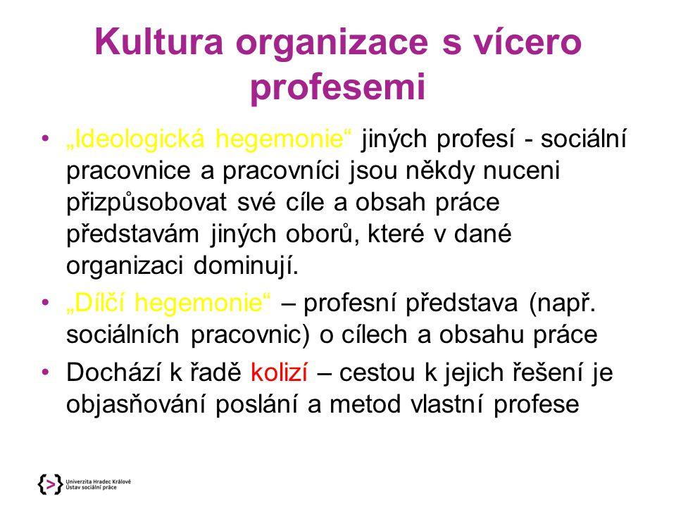 """Kultura organizace s vícero profesemi """"Ideologická hegemonie"""" jiných profesí - sociální pracovnice a pracovníci jsou někdy nuceni přizpůsobovat své cí"""