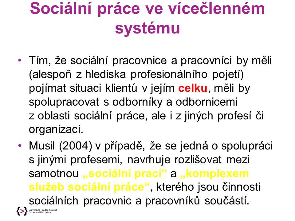 Sociální práce ve vícečlenném systému Tím, že sociální pracovnice a pracovníci by měli (alespoň z hlediska profesionálního pojetí) pojímat situaci kli