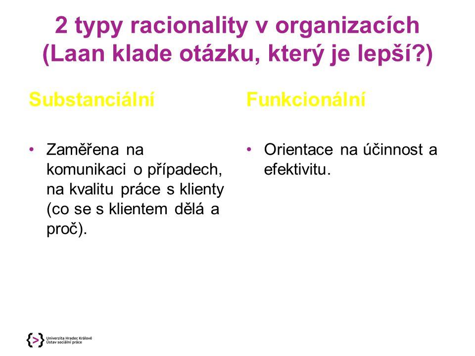 2 typy racionality v organizacích (Laan klade otázku, který je lepší?) Substanciální Zaměřena na komunikaci o případech, na kvalitu práce s klienty (c