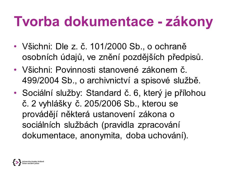 Tvorba dokumentace - zákony Všichni: Dle z. č. 101/2000 Sb., o ochraně osobních údajů, ve znění pozdějších předpisů. Všichni: Povinnosti stanovené zák
