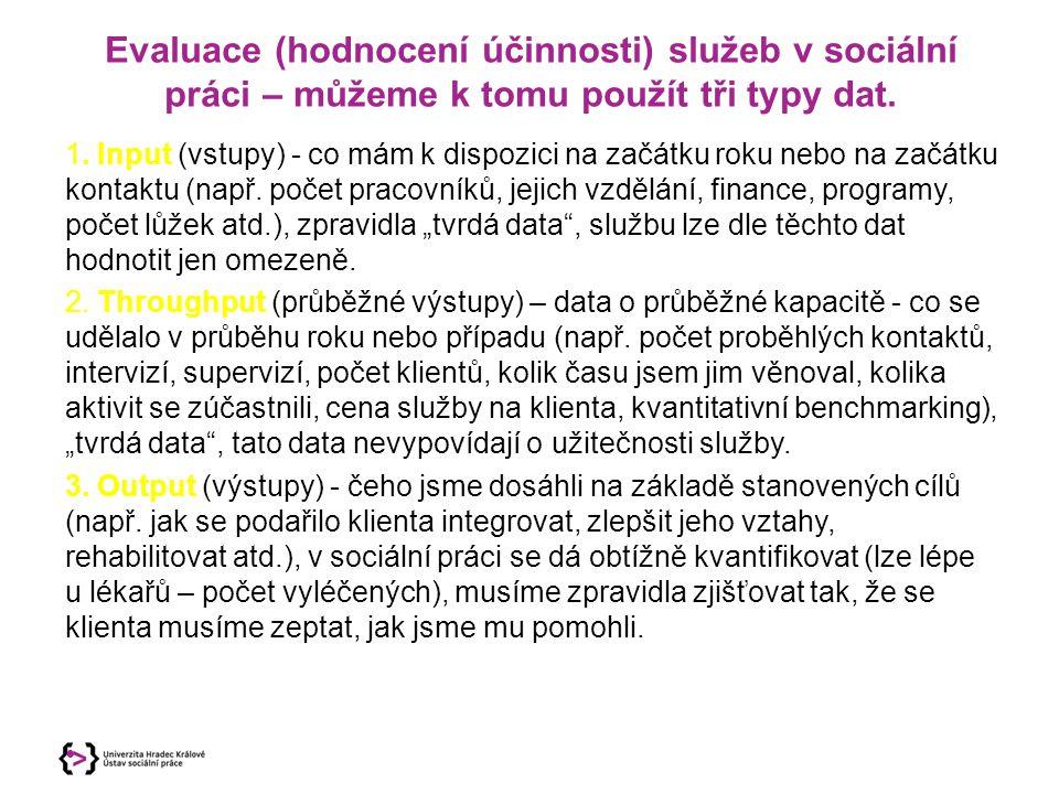 Evaluace (hodnocení účinnosti) služeb v sociální práci – můžeme k tomu použít tři typy dat. 1. Input (vstupy) - co mám k dispozici na začátku roku neb