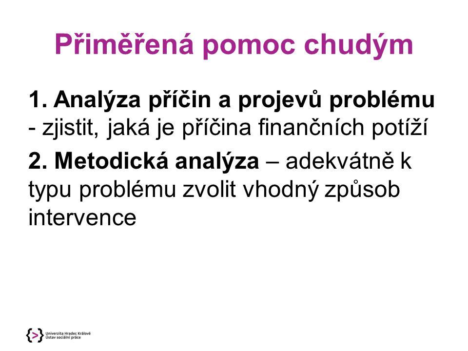 Přiměřená pomoc chudým 1. Analýza příčin a projevů problému - zjistit, jaká je příčina finančních potíží 2. Metodická analýza – adekvátně k typu probl