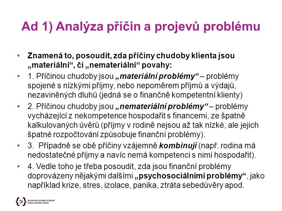 """Ad 1) Analýza příčin a projevů problému Znamená to, posoudit, zda příčiny chudoby klienta jsou """"materiální"""", či """"nemateriální"""" povahy: 1. Příčinou chu"""