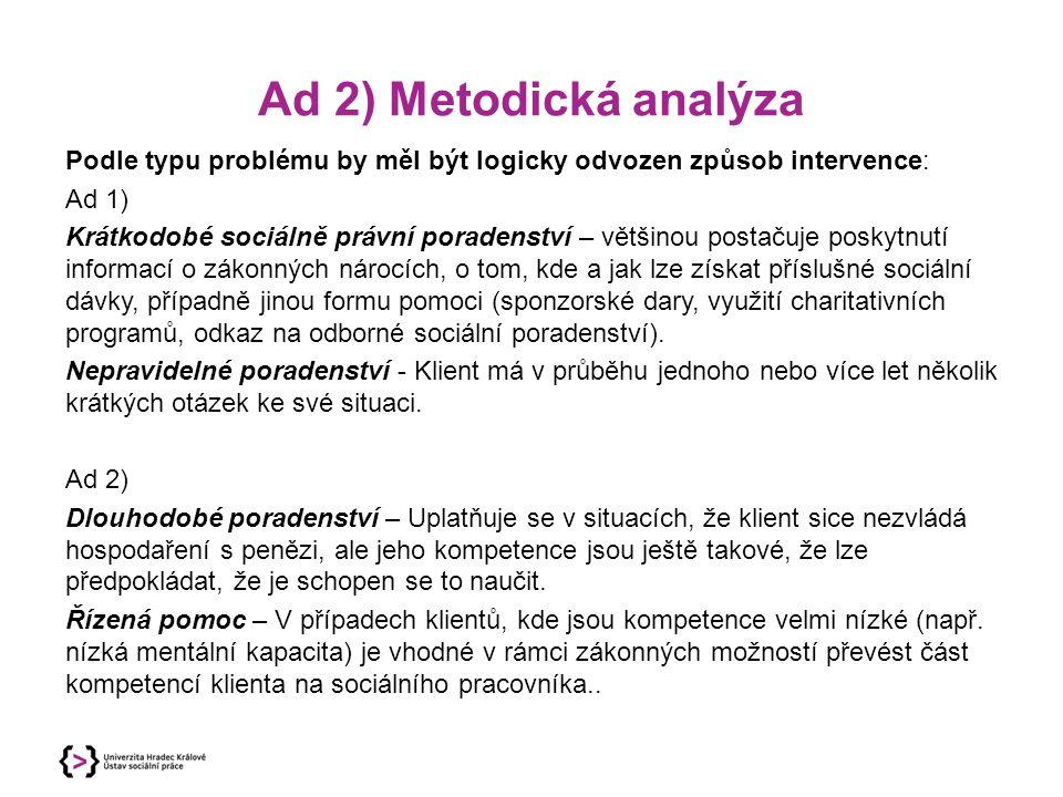 Ad 2) Metodická analýza Podle typu problému by měl být logicky odvozen způsob intervence: Ad 1) Krátkodobé sociálně právní poradenství – většinou post