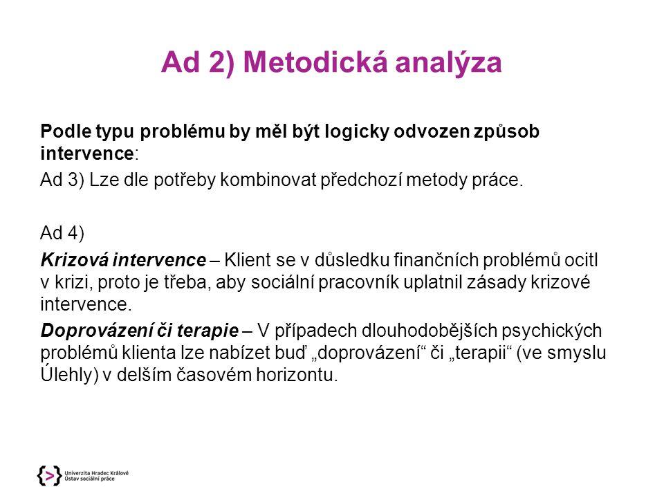 Ad 2) Metodická analýza Podle typu problému by měl být logicky odvozen způsob intervence: Ad 3) Lze dle potřeby kombinovat předchozí metody práce. Ad