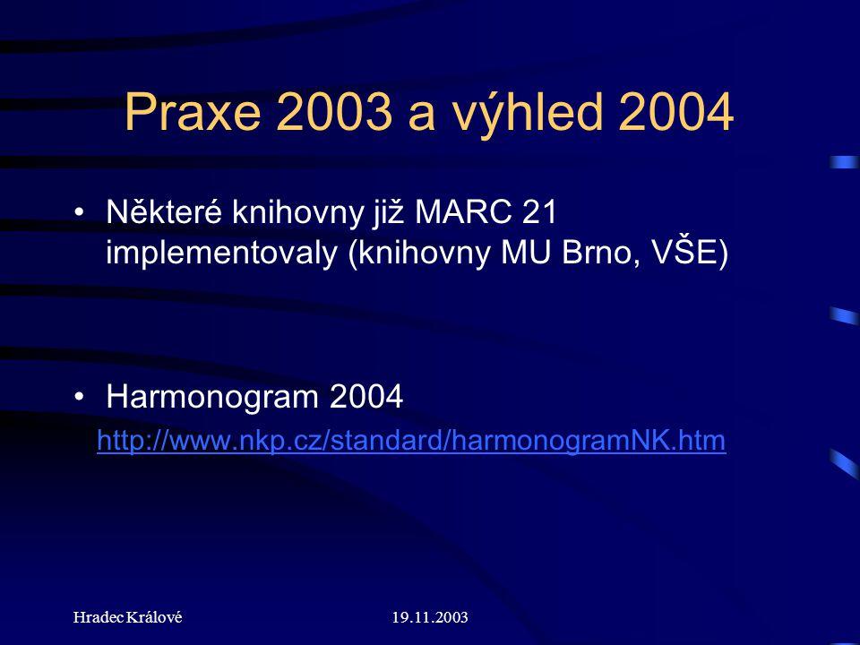Hradec Králové19.11.2003 Praxe 2003 a výhled 2004 Některé knihovny již MARC 21 implementovaly (knihovny MU Brno, VŠE) Harmonogram 2004 http://www.nkp.cz/standard/harmonogramNK.htm