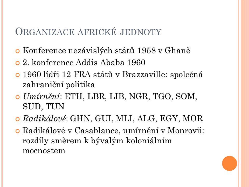 O RGANIZACE AFRICKÉ JEDNOTY Konference nezávislých států 1958 v Ghaně 2.