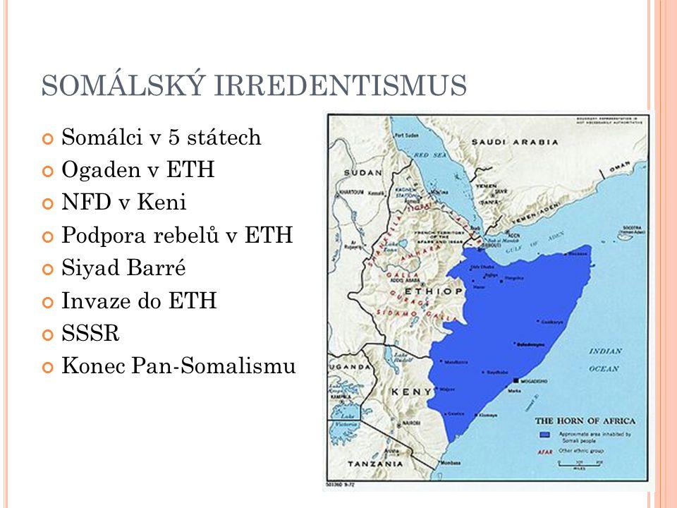 SOMÁLSKÝ IRREDENTISMUS Somálci v 5 státech Ogaden v ETH NFD v Keni Podpora rebelů v ETH Siyad Barré Invaze do ETH SSSR Konec Pan-Somalismu