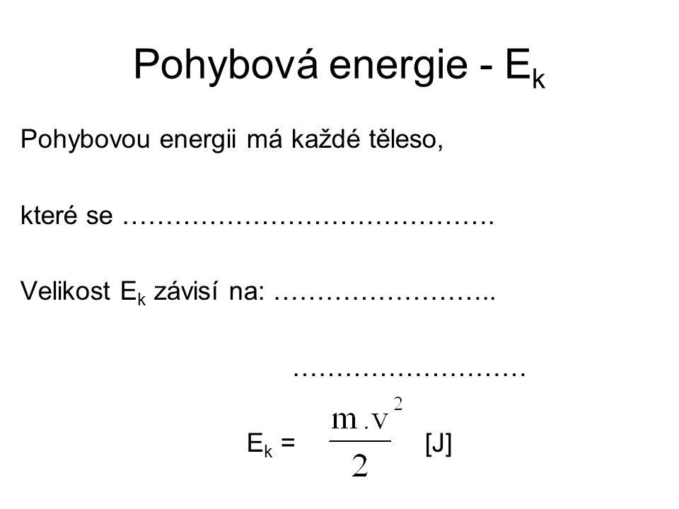 Pohybová energie - E k Pohybovou energii má každé těleso, které se ……………………………………. Velikost E k závisí na: …………………….. ……………………… E k = [J]