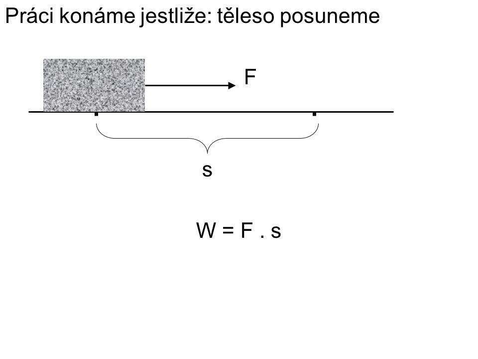 Práci konáme jestliže: těleso posuneme F s W = F. s
