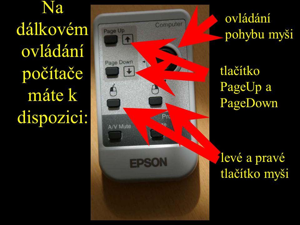Na dálkovém ovládání počítače máte k dispozici: ovládání pohybu myši tlačítko PageUp a PageDown levé a pravé tlačítko myši