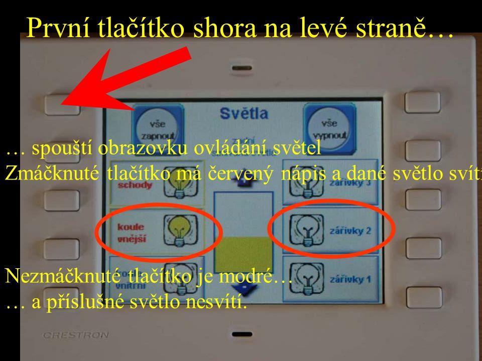 První tlačítko shora na levé straně… … spouští obrazovku ovládání světel Zmáčknuté tlačítko má červený nápis a dané světlo svítí Nezmáčknuté tlačítko je modré… … a příslušné světlo nesvítí.