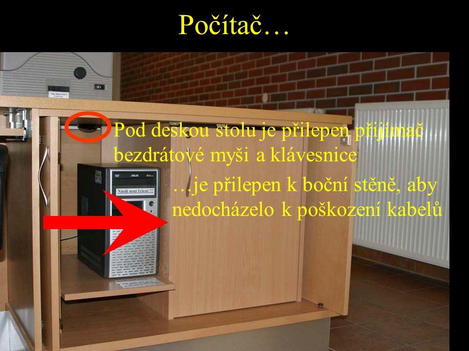 Počítač… …je přilepen k boční stěně, aby nedocházelo k poškození kabelů Pod deskou stolu je přilepen přijímač bezdrátové myši a klávesnice