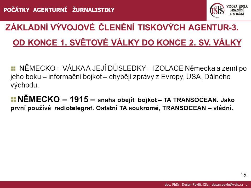 15. doc. PhDr. Dušan Pavlů, CSc., dusan.pavlu@vsfs.cz :: POČÁTKY AGENTURNÍ ŽURNALISTIKY ZÁKLADNÍ VÝVOJOVÉ ČLENĚNÍ TISKOVÝCH AGENTUR-3. OD KONCE 1. SVĚ