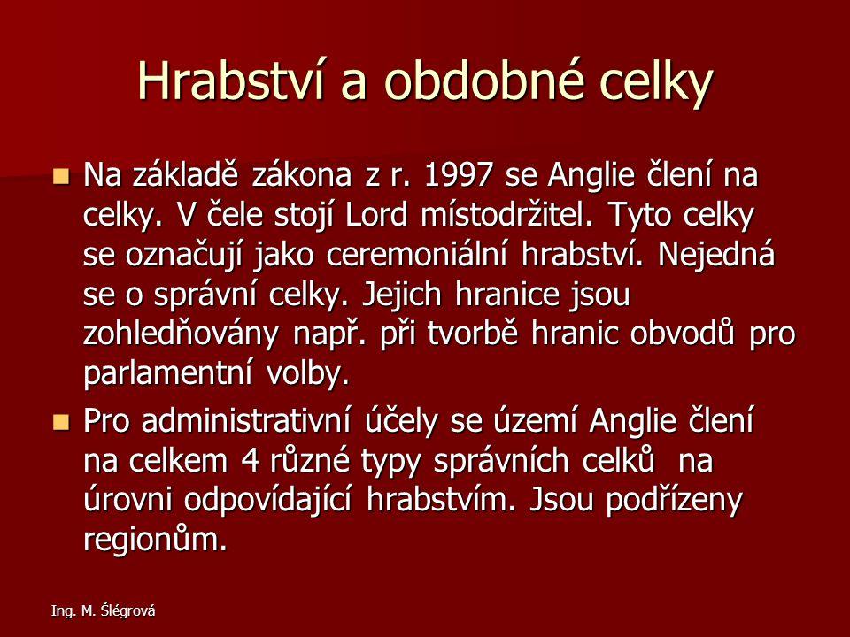 Ing.M. Šlégrová Hrabství a obdobné celky Na základě zákona z r.