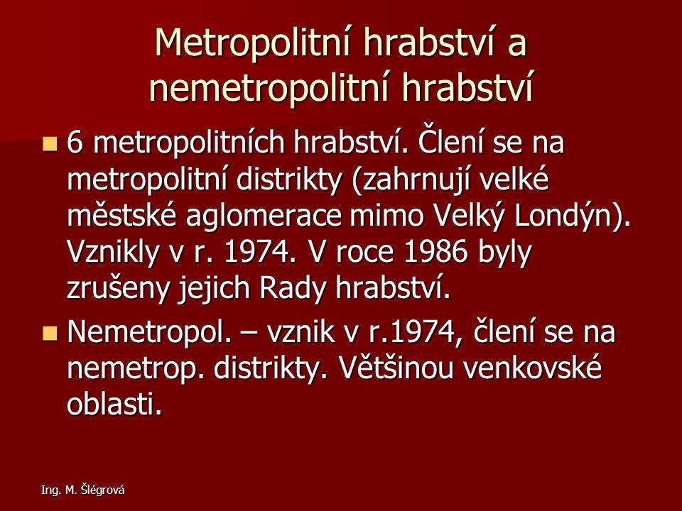Ing.M. Šlégrová Metropolitní hrabství a nemetropolitní hrabství 6 metropolitních hrabství.