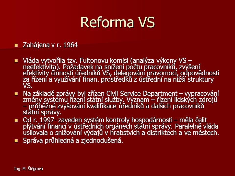 Ing.M. Šlégrová Reforma VS Zahájena v r. 1964 Zahájena v r.