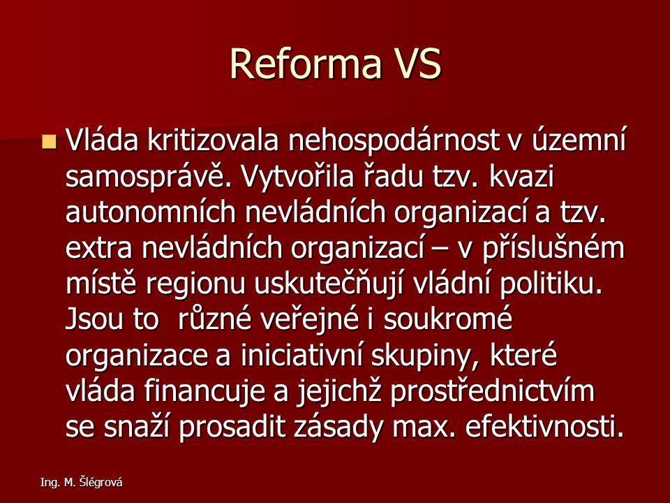 Ing.M. Šlégrová Reforma VS Vláda kritizovala nehospodárnost v územní samosprávě.