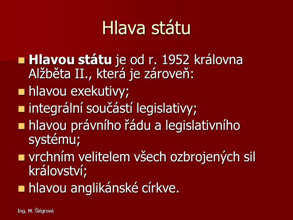 Ing.M. Šlégrová Hlava státu Hlavou státu je od r.