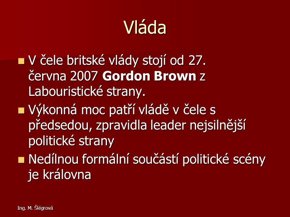 Ing.M. Šlégrová Vláda V čele britské vlády stojí od 27.