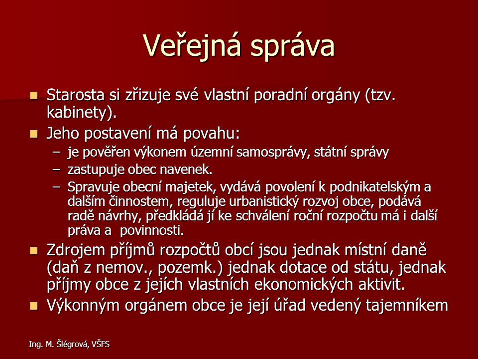 Ing. M. Šlégrová, VŠFS Veřejná správa Starosta si zřizuje své vlastní poradní orgány (tzv. kabinety). Starosta si zřizuje své vlastní poradní orgány (