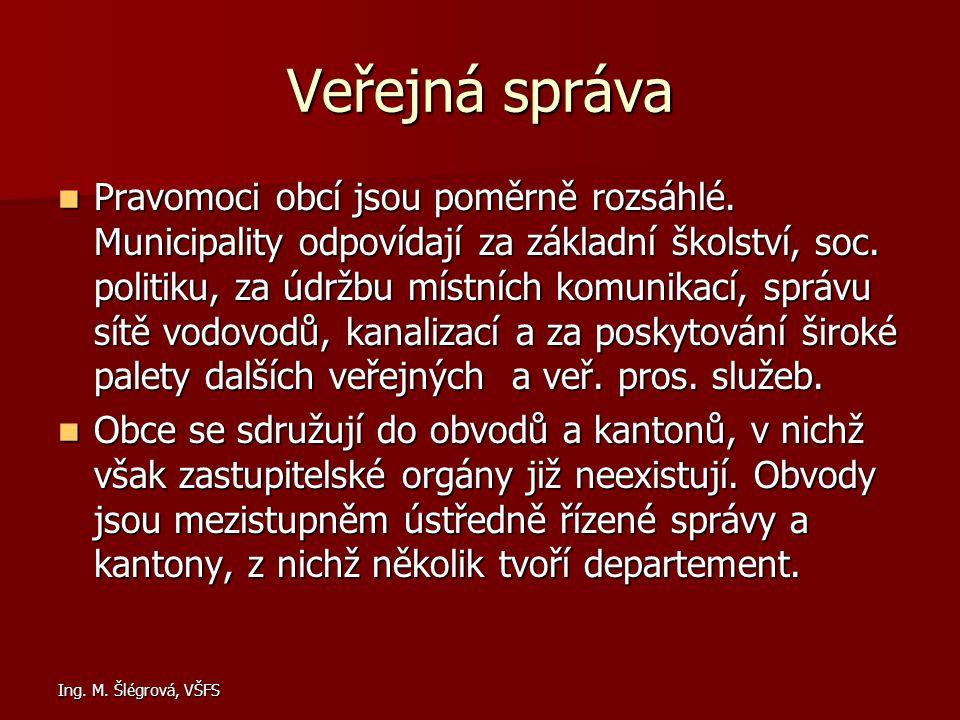 Ing. M. Šlégrová, VŠFS Veřejná správa Pravomoci obcí jsou poměrně rozsáhlé. Municipality odpovídají za základní školství, soc. politiku, za údržbu mís