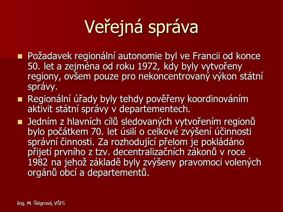 Ing. M. Šlégrová, VŠFS Veřejná správa Požadavek regionální autonomie byl ve Francii od konce 50. let a zejména od roku 1972, kdy byly vytvořeny region