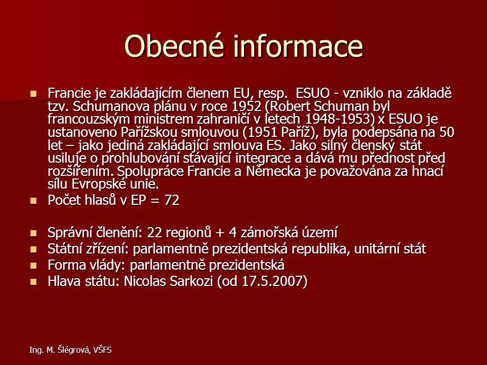 Ing. M. Šlégrová, VŠFS Obecné informace Francie je zakládajícím členem EU, resp. ESUO - vzniklo na základě tzv. Schumanova plánu v roce 1952 (Robert S