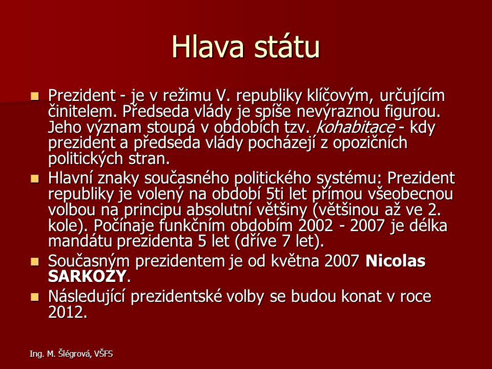 Ing. M. Šlégrová, VŠFS Hlava státu Prezident - je v režimu V. republiky klíčovým, určujícím činitelem. Předseda vlády je spíše nevýraznou figurou. Jeh