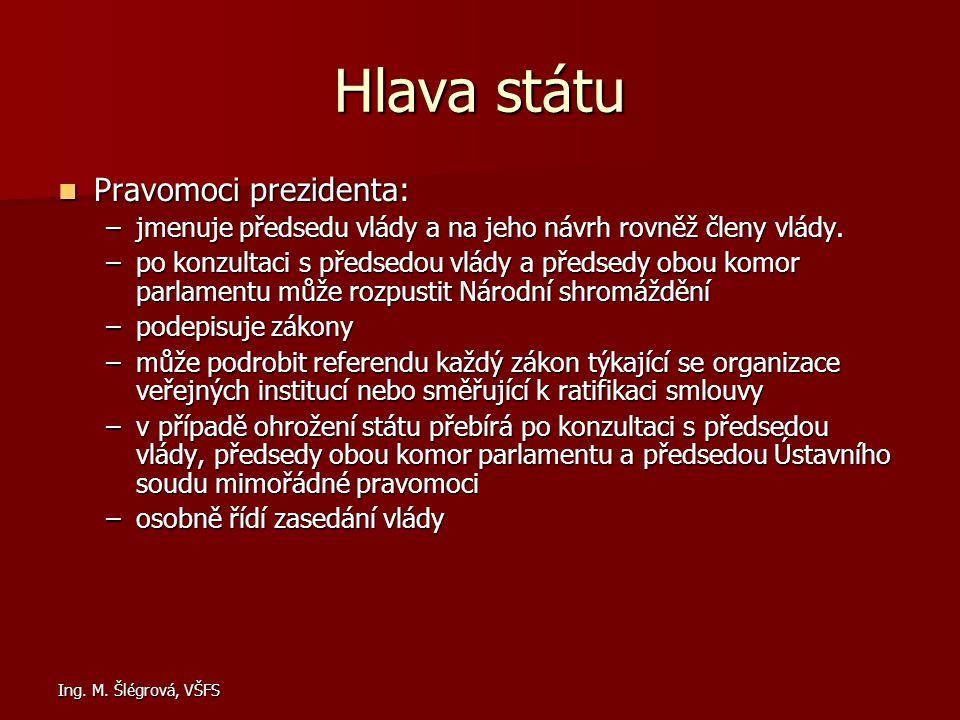 Ing. M. Šlégrová, VŠFS Hlava státu Pravomoci prezidenta: Pravomoci prezidenta: –jmenuje předsedu vlády a na jeho návrh rovněž členy vlády. –po konzult