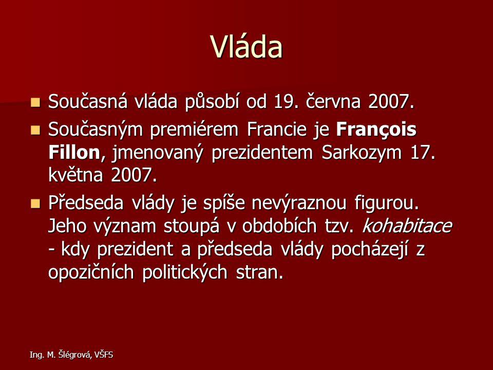 Ing. M. Šlégrová, VŠFS Vláda Současná vláda působí od 19. června 2007. Současná vláda působí od 19. června 2007. Současným premiérem Francie je Franço