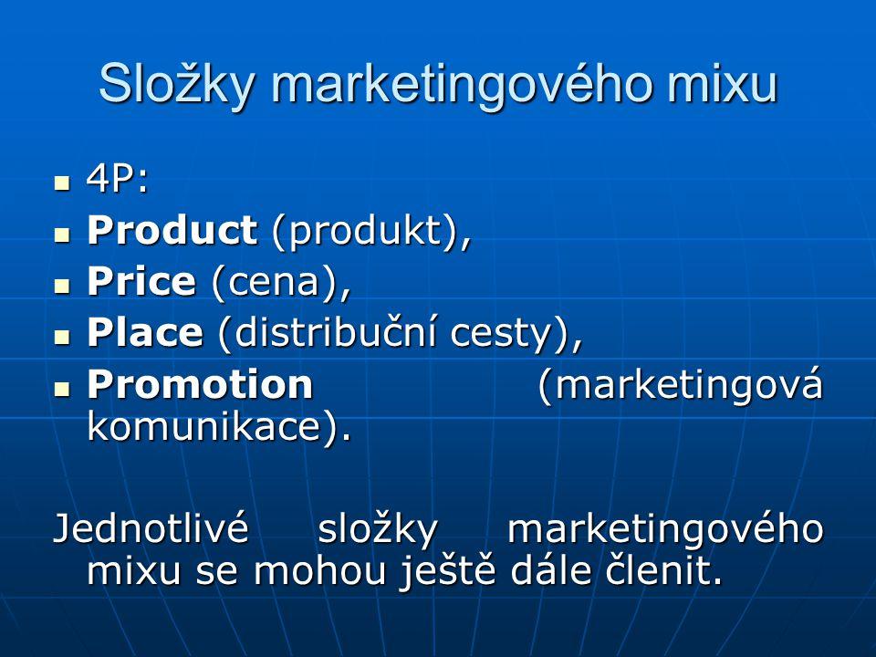 Na prvním místě je vždy výrobní a výrobková politika – které produkty mají být vyráběny a prodávány, jaké musí mít produkt vlastnosti, jaký jeho design, obal, značka, image výrobce, Na prvním místě je vždy výrobní a výrobková politika – které produkty mají být vyráběny a prodávány, jaké musí mít produkt vlastnosti, jaký jeho design, obal, značka, image výrobce, Druhou významnou je cena a cenová politika – cena může usměrňovat proporce mezi nabídkou a poptávkou, zprostředkovaně vede k vyšší hospodárnosti; patří sem i poskytování slev, stanovení platebních podmínek a lhůt apod., Druhou významnou je cena a cenová politika – cena může usměrňovat proporce mezi nabídkou a poptávkou, zprostředkovaně vede k vyšší hospodárnosti; patří sem i poskytování slev, stanovení platebních podmínek a lhůt apod.,