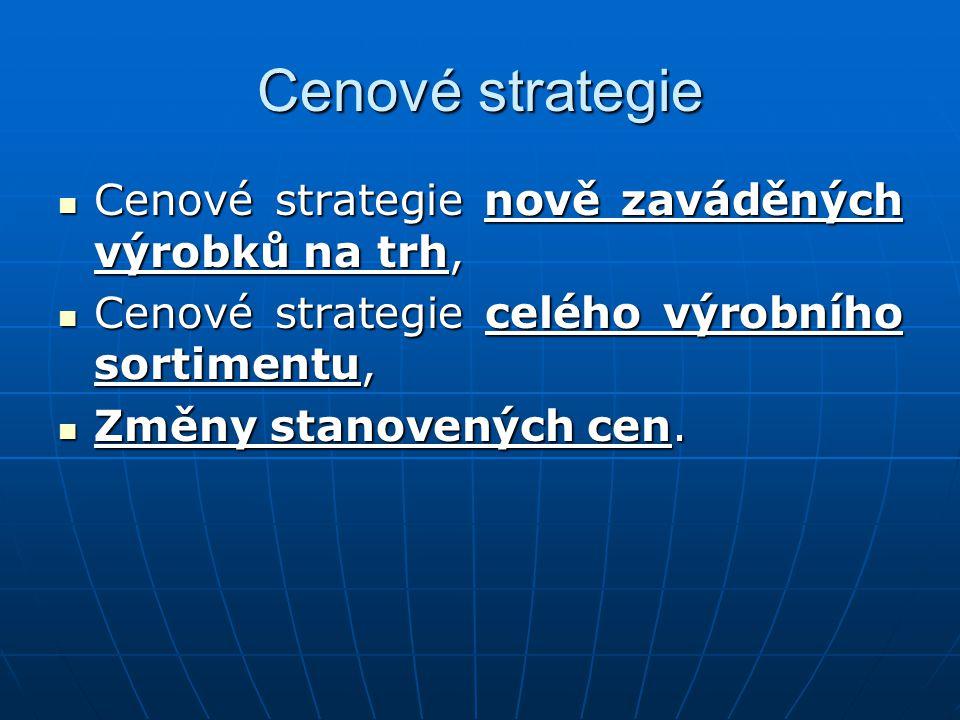 Cenové strategie Cenové strategie nově zaváděných výrobků na trh, Cenové strategie nově zaváděných výrobků na trh, Cenové strategie celého výrobního sortimentu, Cenové strategie celého výrobního sortimentu, Změny stanovených cen.