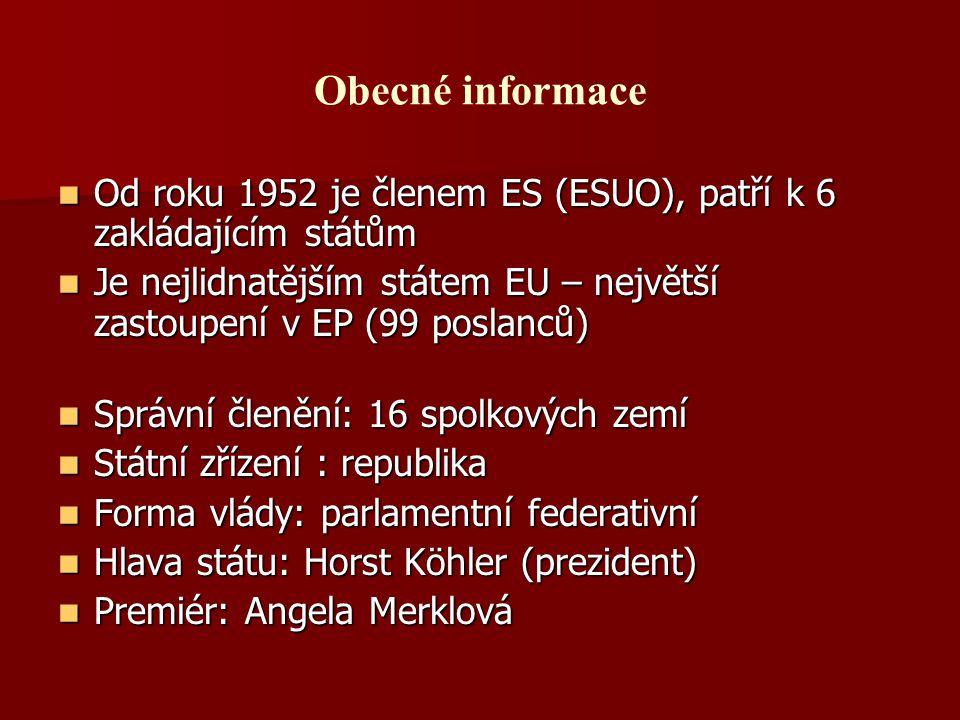 Obecné informace Od roku 1952 je členem ES (ESUO), patří k 6 zakládajícím státům Od roku 1952 je členem ES (ESUO), patří k 6 zakládajícím státům Je ne