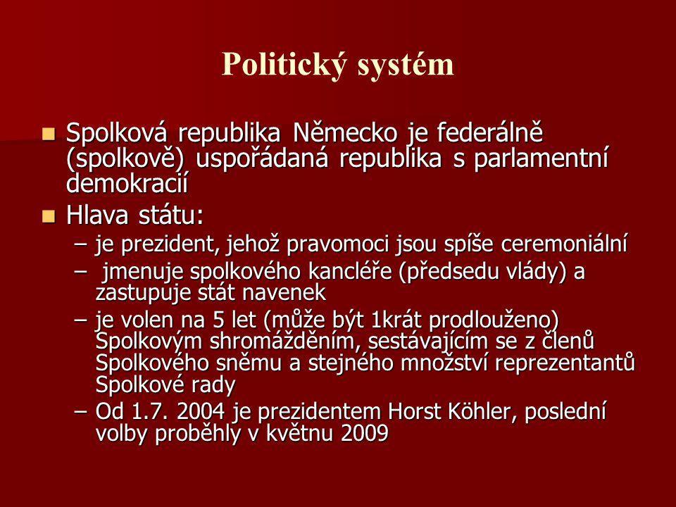 Politický systém Spolková republika Německo je federálně (spolkově) uspořádaná republika s parlamentní demokracií Spolková republika Německo je federá