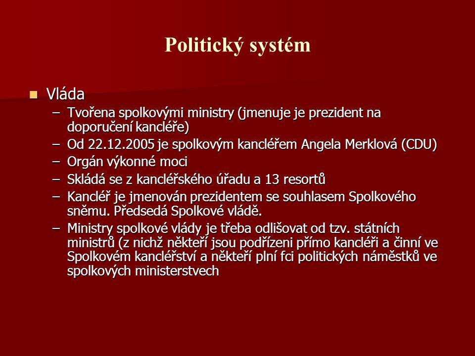 Politický systém Vláda Vláda –Tvořena spolkovými ministry (jmenuje je prezident na doporučení kancléře) –Od 22.12.2005 je spolkovým kancléřem Angela M
