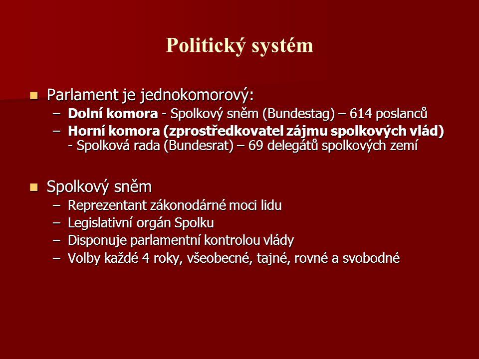 Politický systém Parlament je jednokomorový: Parlament je jednokomorový: –Dolní komora - Spolkový sněm (Bundestag) – 614 poslanců –Horní komora (zpros