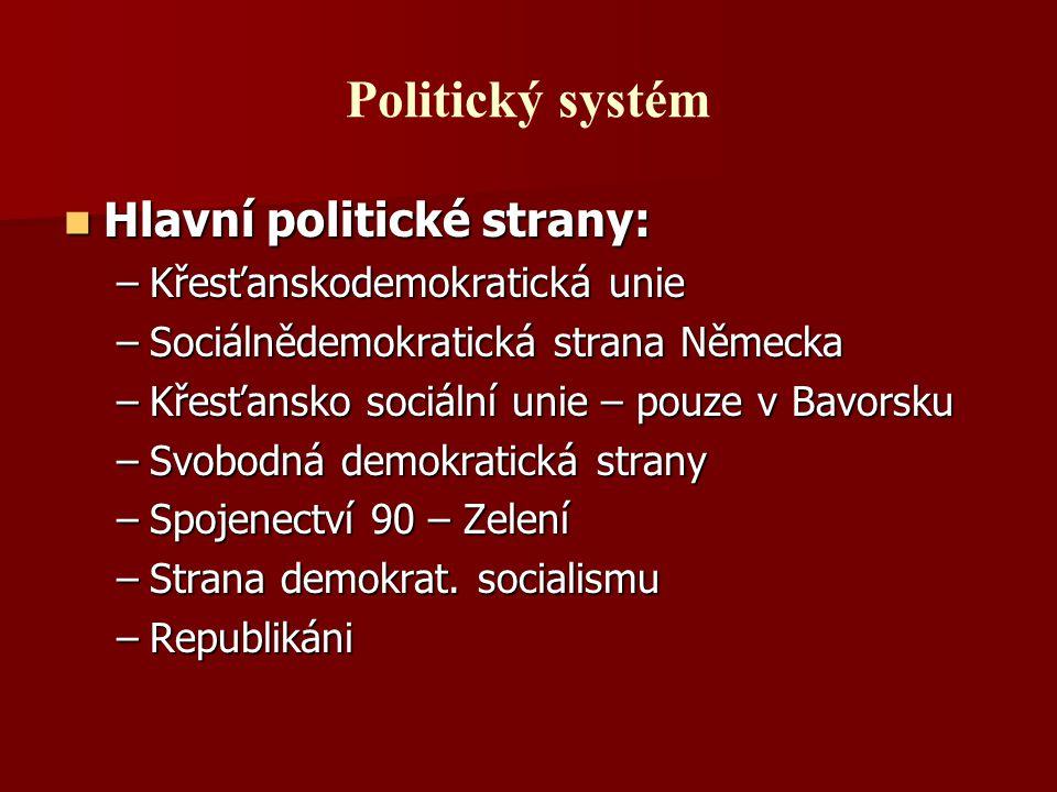 Politický systém Hlavní politické strany: Hlavní politické strany: –Křesťanskodemokratická unie –Sociálnědemokratická strana Německa –Křesťansko sociá