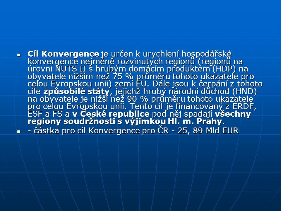 Cíl Konvergence je určen k urychlení hospodářské konvergence nejméně rozvinutých regionů (regionů na úrovni NUTS II s hrubým domácím produktem (HDP) n